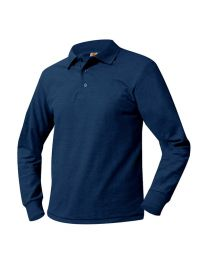 Youth Long Sleeve Pique Polo With Pulaski Academy Logo