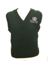 Youth 100% Cotton Green Sweater Vest With Episcopal Collegiate School Logo