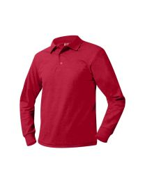 Youth Long Sleeve Pique Polo With Garrett Memorial Logo
