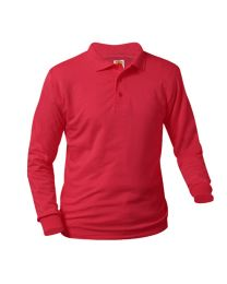 Adult Long Sleeve Pique Polo With Holy Souls Logo
