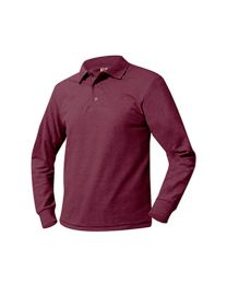 Youth Long Sleeve Pique Polo With Johnson's Montessori School Logo