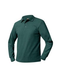 Youth Long Sleeve Pique Polo With Lighthouse Christian Academy Logo