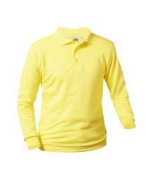 Youth Long Sleeve Smooth Polo With Lighthouse Christian Academy Logo
