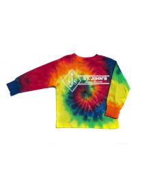 Youth Long Sleeve Tie Dye Tee With St. John Logo